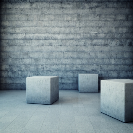 Abstract grunge interior with concrete cubes Stock Photo - 16430832
