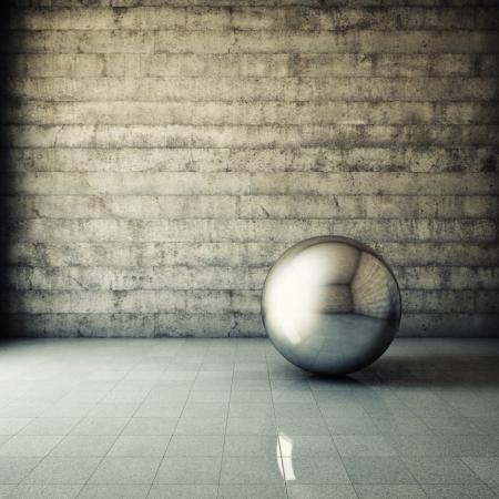 Abstract grunge interior with metallic ball Stock Photo - 16430802