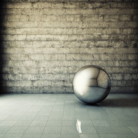 grunge interior: Interior del grunge abstracto con la bola met�lica Foto de archivo