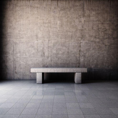 Abstract grunge interior with concrete bench photo