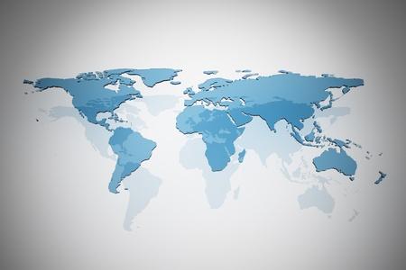 cartina del mondo: Vetro blu mappa del mondo Archivio Fotografico