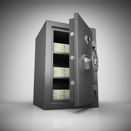 Bank safe with money stacks photo