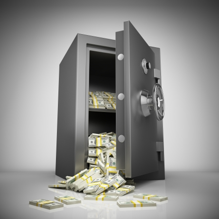 million: Bank safe with money stacks
