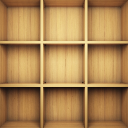 Blank wooden bookshelf photo