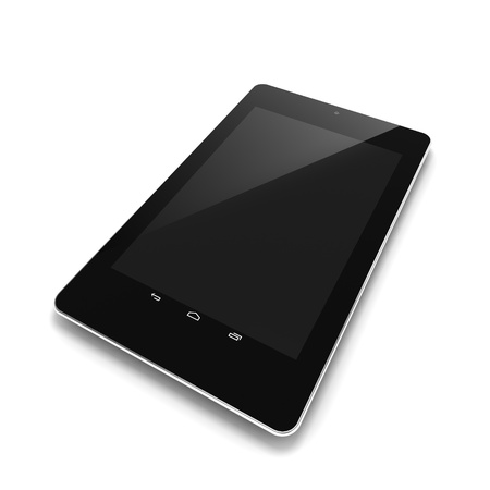 Black tablet computer with touch screen blank Stock Photo - 16430773