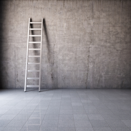 Blank dirty grunge wall with ladder Stock Photo - 16430831