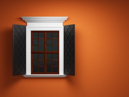 Vintage window on orange cement wall photo