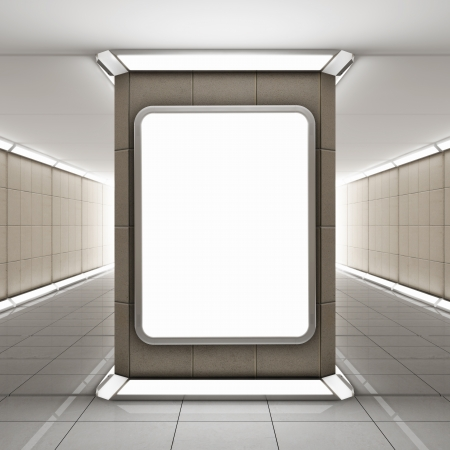 Blank advertising billboard in underground tunnel photo