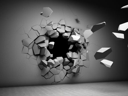 effondrement: Destruction du mur de b�ton
