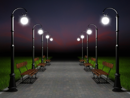 A romantic night scene. Illuminated park alley with old fashioned street light and bench photo