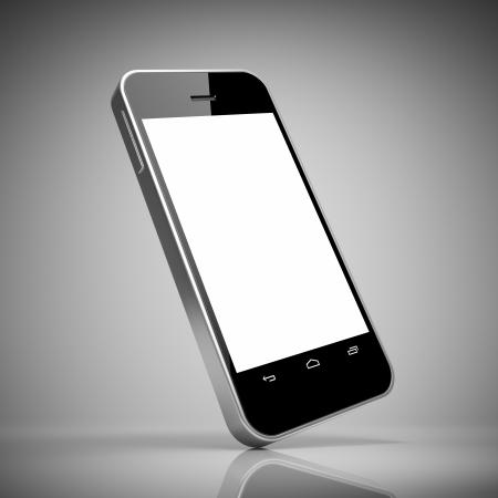 Noir téléphone intelligent avec écran tactile blanc
