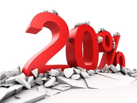 20: Descuento del 20 por ciento del suelo se rompe