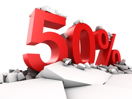promotion icon: 50 percent discount breaks ground