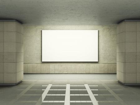 Blank advertising billboard in underground tunnel Imagens
