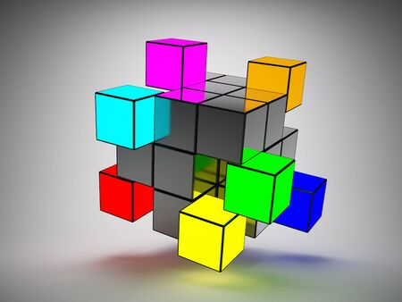 Abstract structure of cubes with colored key elements photo