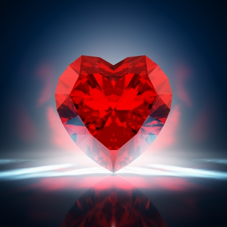 solid color: Red diamond heart