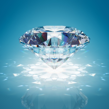 Briljante diamant op blauwe achtergrond