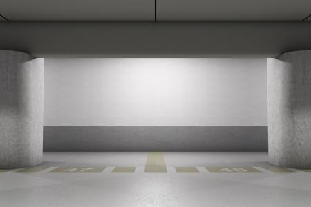 underground passage: Empty underground parking area