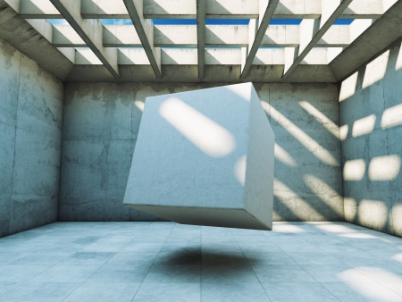 Concrete construction with abstract cube photo