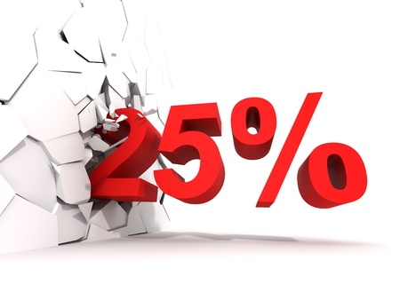 25 percent discount is breaking down the wall Stock Photo - 17603859