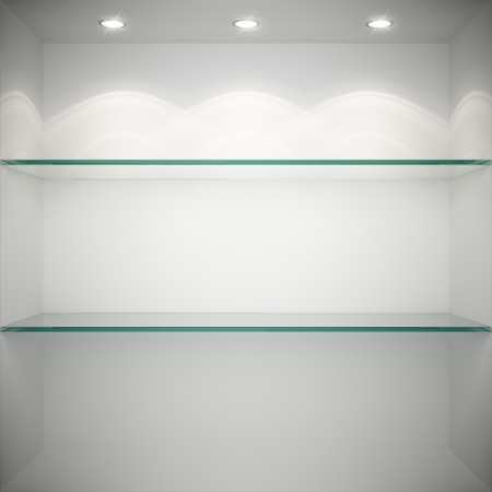 Empty showcase with glass shelves for exhibition