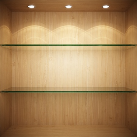 Empty wooden showcase with glass shelves for exhibition photo