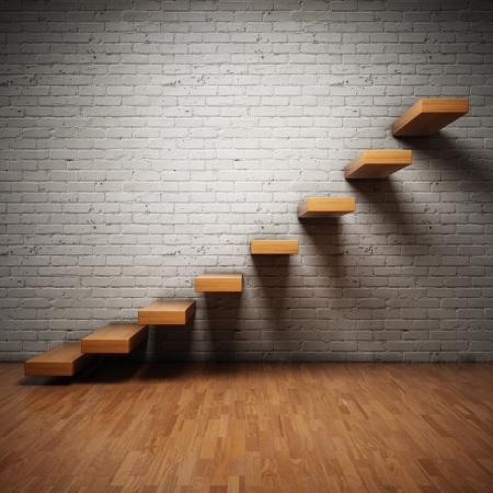 твердая древесина: Аннотация лестнице на кирпичной стене в интерьере
