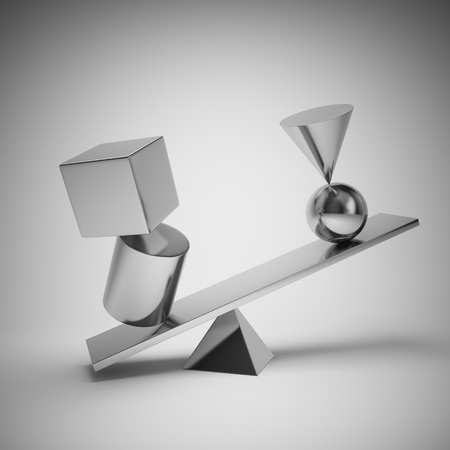 Abstract shapes from metal balance Banque d'images