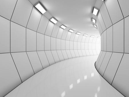 futuristico: Moderna lungo corridoio illuminato Archivio Fotografico