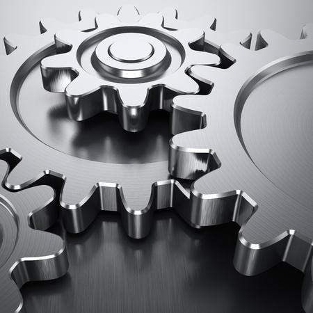 gears: Ruedas de engranaje en la superficie de metal Foto de archivo