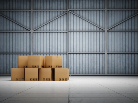 moving crate: Large trucking warehouse with cargo