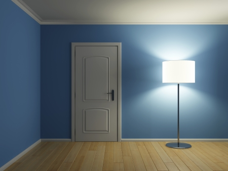 lampshade: Empty modern interior room with door and lamp