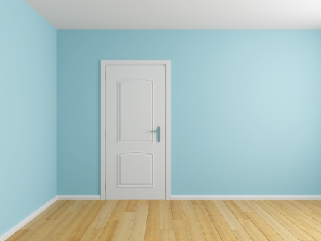 Empty interior room with door and wooden floor photo