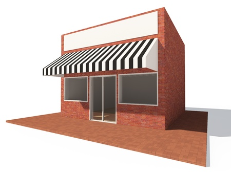 restaurant exterior: Store building with showcase and billboard