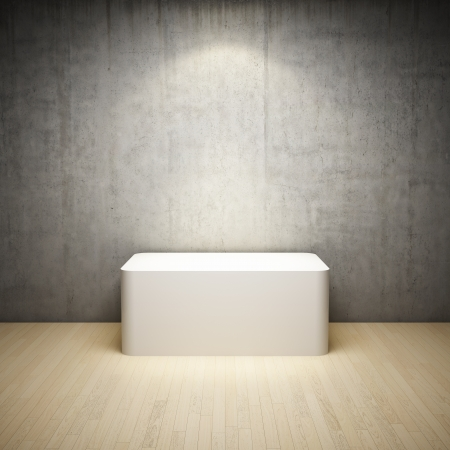 pedestal: Empty white stand in interior room with concrete wall and spotlight