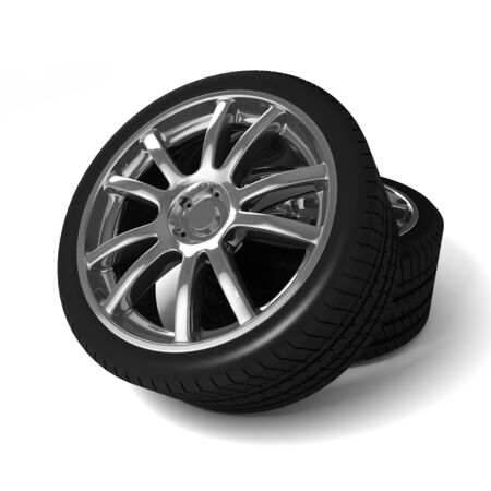 Car wheels with tires isolated on white background photo