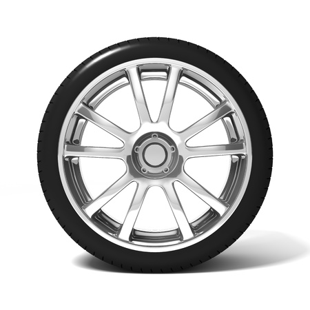 aluminum wheels: Car wheel with tire isolated on white background Stock Photo
