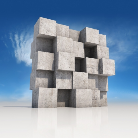 concrete structure: Abstract wall made of concrete cubes