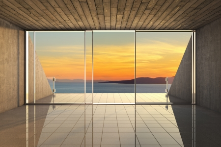 Empty modern lounge area with large bay window and view of sea Stock Photo - 19867130