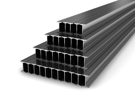 Steel beams isolated on white background Stock Photo - 19867139
