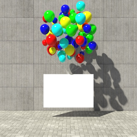 Advertising poster hanging on the colored balloons photo