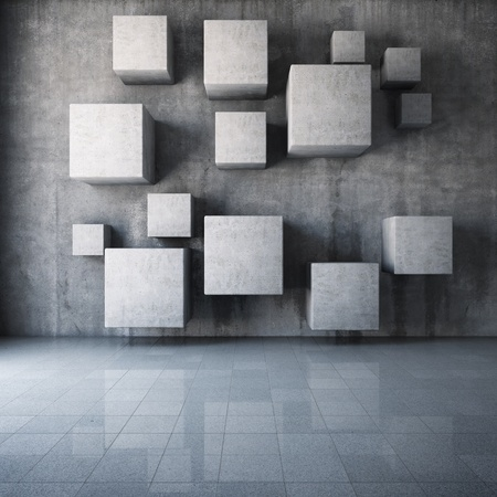 concrete form: Abstract concrete cubes in the interior Stock Photo