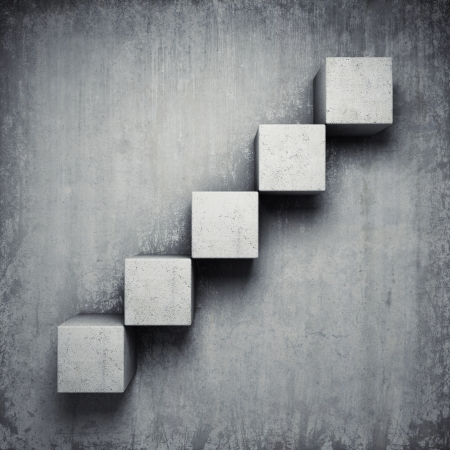 Abstract concrete staircase made of cubes