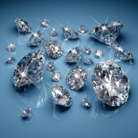 bijoux diamant: Diamants taille brillant sur fond bleu Banque d'images