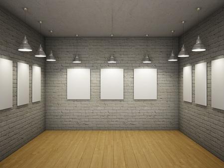 pared iluminada: Blanco de marcos vac�os en el interior con l�mparas de luz