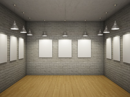 gallery interior: Blank of empty frames in the interior with light lamps