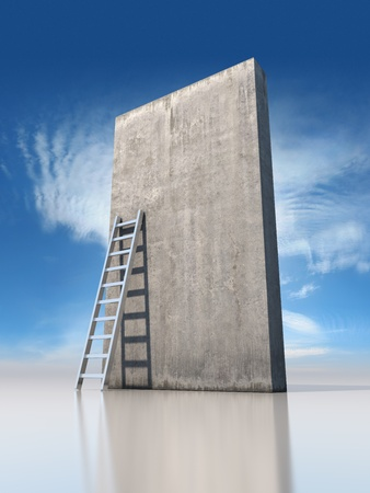 Abstract concrete wall with a ladder on background sky Stock Photo - 19867127