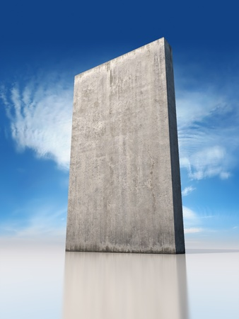 Abstract monolithic concrete slab is on the sky background photo