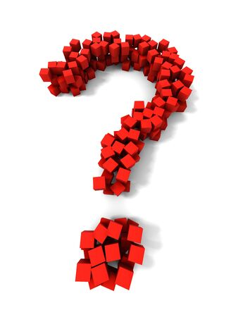 Abstract question mark of red cubes photo