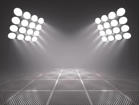 Empty metal platform in the spotlights